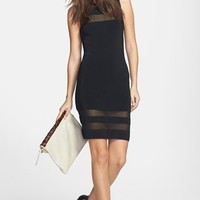 Leith Sheer Stripe Body-Con Dress | Nordstrom