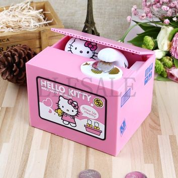 Hello Kitty Brand New Steal Coin Piggy Bank Electronic Plastic Money Safety Box Coin Bank Money boxes
