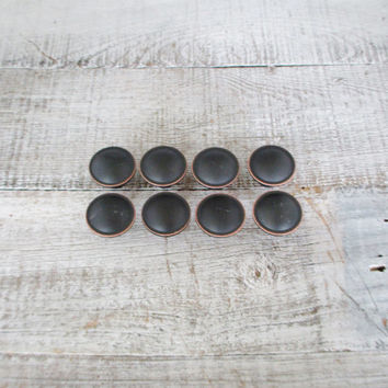 Drawer Pulls 8 Drawer Knobs Black Drawer Pulls Vintage Copper Highlights and Black Knobs Dresser Hardware 1990s Hardware Cabinet Knobs