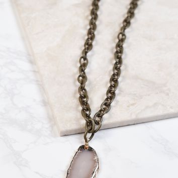 Chain Sliced Stone Necklace, Olive