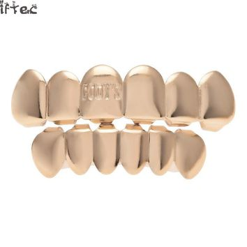 Iftec Rose Color Hip Hop Letter Teeth Grillz Top & Bottom Groll Set With Silicone Vampire Teeth Party Jwelry
