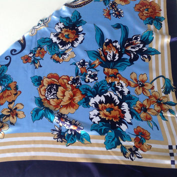 Blue floral scarf, Gift for wife Beach Hip coverup Best Friend Birthday gift  Coworker Gift Floral cancer headcover, Suumer Neckerchief
