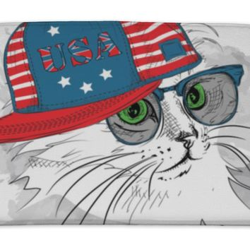 Bath Mat, Illustration Of Cat In The Glasses Headphones And In Hiphop Hat With Print Of