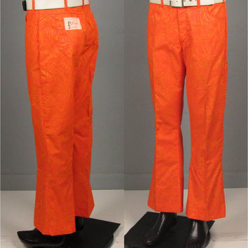 "Vintage Mens 1960s Trousers -- Late 60s Lilly Pulitzer Orange on Orange Zebra Print Pulitzer Jeans -- Deadstock 32"" Waist"