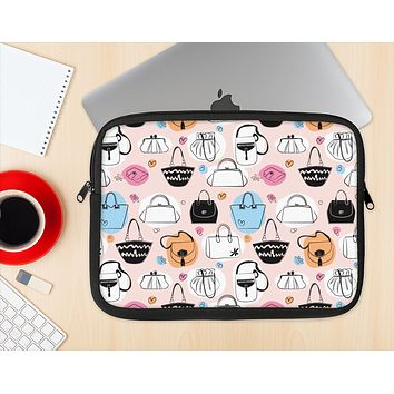 The Subtle Pink And Purses Ink-Fuzed NeoPrene MacBook Laptop Sleeve