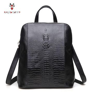 Raged Sheep Women Genuine Leather Backpack 3D Crocodile Women BackPack Daily Bags For Girls College Female Fashion Shoulder Bags