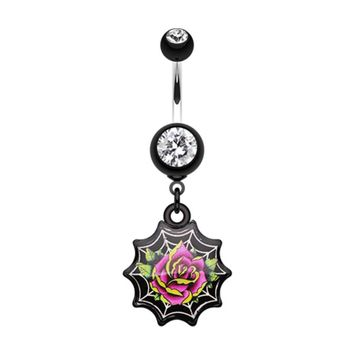 Black Widow's Rose Belly Button Ring