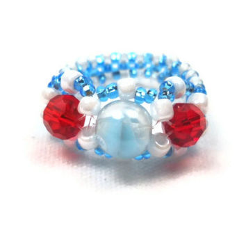 Beaded Ring Beadwoven Ring Red White Blue Beaded Ring