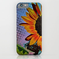 Sunflower Vinyl Check iPhone & iPod Case by Minx267