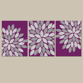 Purple Gray Wall Art Bedroom Canvas or Prints Eggplant Bathroom Wall Art Bedroom Pictures Flower Burst Dahlia Wall Art Pictures Set of 3
