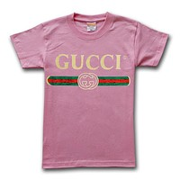 GUCCI High Quality Fashionable Women Man Casual Print Pure Cotton Sport T-Shirt Top Blouse Dark Pink