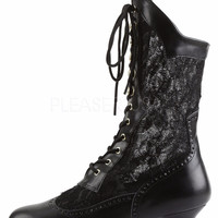 "Dame 115 Lace Panel Victorian Style Calf Boot 2"" Heel 6-12 Black"