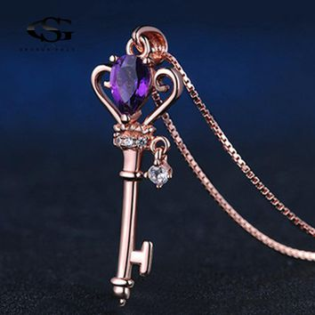 Crown Key Pendant Necklace 0.4ct Natural Teardrop Amethyst 925 Sterling Silver