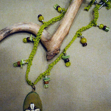 Crocheted / Beaded Necklace - Spring Green, Celtic Cross Pendant