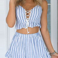 Blue Striped Lace-Up Ruffled Shorts Co-Ord Set – Lookbook Store