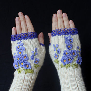 Hand Knitted Fingerless Gloves, Gloves & Mittens, Gift Ideas, For Her, Winter Accessories, Ivory, Blue, Flower, Spring Celebrations, Women