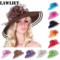 New style Women Dress Church Wedding Kentucky Derby Wide Brim Straw Summer Beach Hat for womenA115