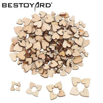 200pcs Wooden Heart Confetti For Craft Wedding Party Favor Baby Shower Decor DIY Table DIY Crafts Christmas Decoration