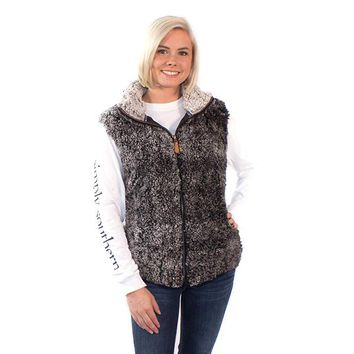Simply Southern Sherpa Vest Monogrammed - Black