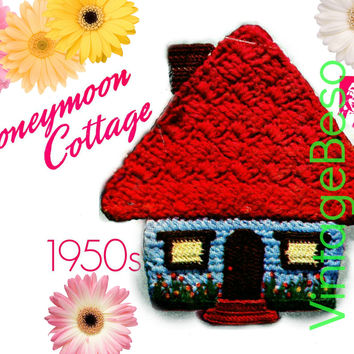Honeymoon Cottage Potholder CROCHET Pattern • PdF Pattern • Vintage 1950s Digital • Super Cute for Bridal Shower DIY Wedding Potholders