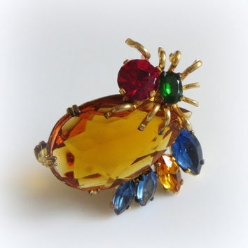 Czech Spider Pin, Art Deco Era Vintage Rhinestones & Brass, Bug, Insect, Arachnid Brooch, Stamped Made In Czechoslovakia