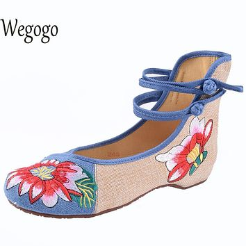 Wegogo Mix Style Women's Shoes Old Peking Mary Jane Flat Heel Denim Flats with Embroidery Soft Sole Casual Shoes  Size 34-41