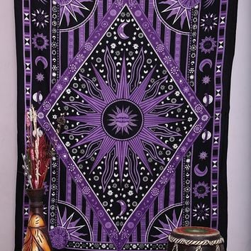 Cilected Purple Burning Sun Wall Tapestry Celestial Sun Moon Planet Printed Mandala Tapestries Hippie Bohemian Wall Art Blanket