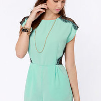 Lace Likely Mint Blue Romper