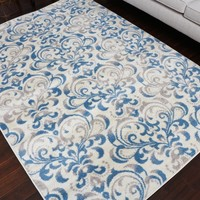 5550 Ivory Blue Damask Contemporary Area Rugs