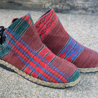 Tribal Womens Ankle Boots In Ethnic Naga, Embroidered Short Boots Vegan - Amber