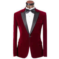Luxury Men Tuxedo Dress Suits 2016 Fashion Red Single Button Slim Groom Wedding Suits For Men Custom Velvet Mens Suits