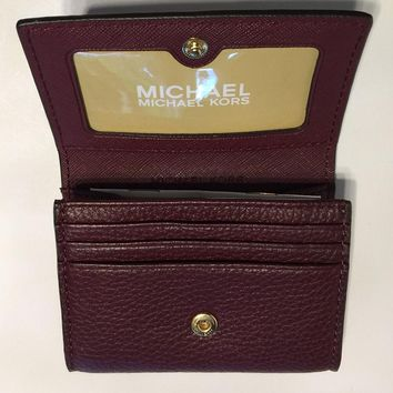 NWT Michael Kors Fulton Snap Credit Card Case Holder (Merlot) Comes in Gift Box