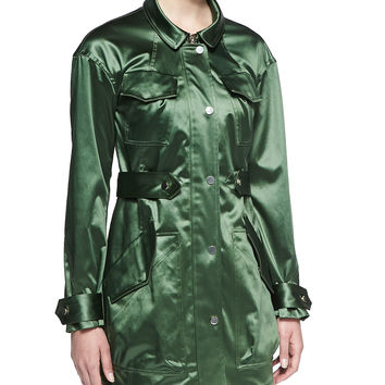 Women's Satin-Finish Twill Parka - Jason Wu - Fern (X-SMALL)