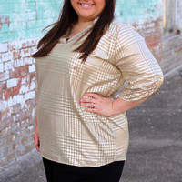 Can't Touch This Metallic Gold Blouse {Curvy}