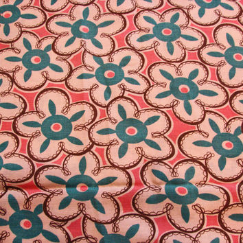 "Vintage 1940s Fabric Turquoise White Pink Floral Fabric   36"" wide Cotton Sewing Fabric"