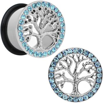 "11/16"" Blue Gem Stainless Steel Single Flare Tree of Life Plug Set"