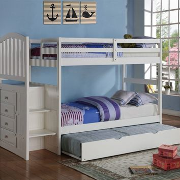 Emily White Twin over Full Bunk Bed with Stairs & Trundle