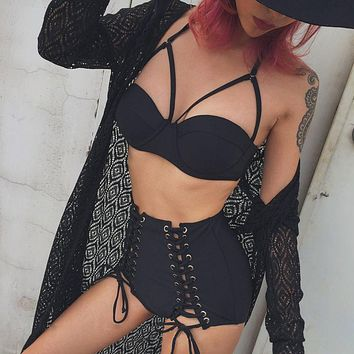 Cary Lace Up Swim Set
