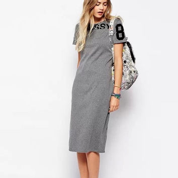 KQ08 Fashion 2016 Women Elegant letter print sport gray Summer dresses Bodycon knee length Short sleeve casual tunic vestidos