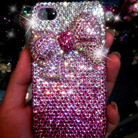 Hot pink crystals cute ribbon iphone case-iphone 5 case-iphone 4/4s case samsung galaxy s2 galaxy s3 case Sparkle shiny phone cases