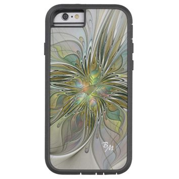 Floral Fantasy, Abstract Fractal Art Monogram Tough Xtreme iPhone 6 Case