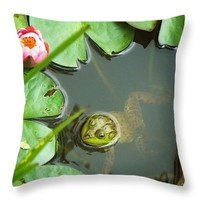 "Frog Among The Lily Pads Throw Pillow for Sale by Joy Nichols - 14"" x 14"""
