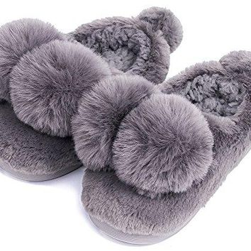 UIESUN Unisex Toddler Shoes Slippers Funny Ball Boy Girl Winter Soft Dark Grey-18/19