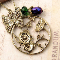 Floral Pendant Necklace with Butterfly and Crystal Accent