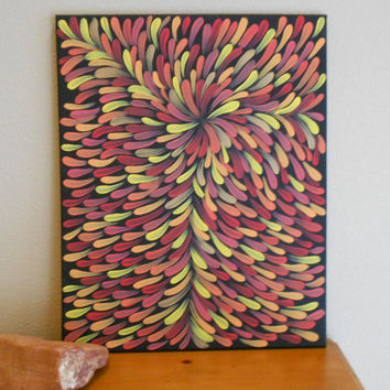 Abstract Painting Orange Aboriginal Inspired by Acires on Etsy