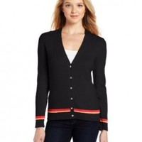 Anne Klein Women's V-Neck Cardigan with Stripe, Black Multi, Large