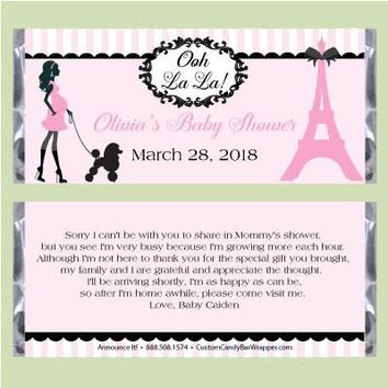 Paris Baby Shower Candy Bar Wrappers