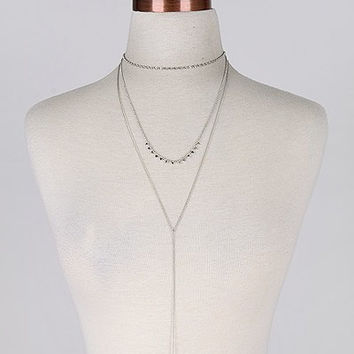 Triple Layer Silver Cross Necklace