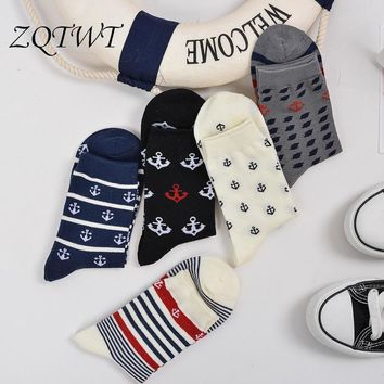 ZQTWT 5Pair/Lot Fashion Anchor Rudder Printed Men Socks Hip Hop Meias Striped Calcetines Mujer Casual Hosiery Sock 3WZ062
