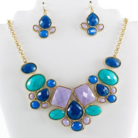 Statement Cabochon Necklace and Earrings Set